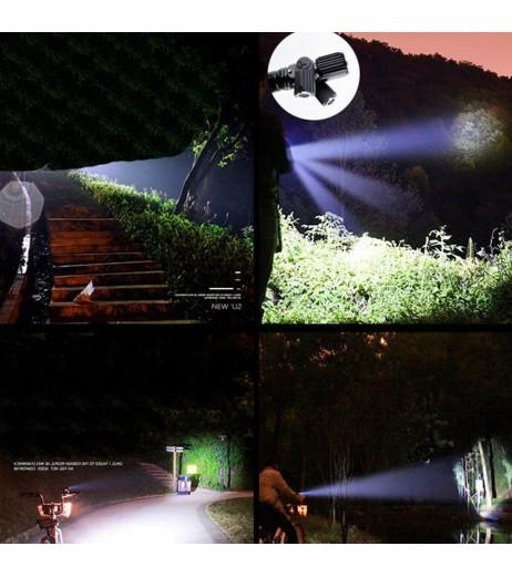 Bright XML T6 LED Flashlight Rotating Multifunction Three Head USB Charging Torch Long Shots Lighting For Night Riding Fishing Adventure
