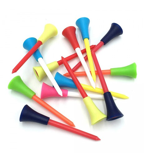 50 Pcs Golf Tees Plastic Colorful Double-deck Ball Nail Rubber Cushion Top 72mm 83mm