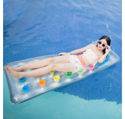 Inflatable 18 Pocket Air Mat Fashion Lounger Floating PVC Water Chair Pool Swimming Ring
