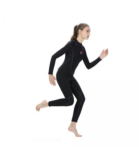 3MM Neoprene Women Wetsuit Scuba Diving Suit Long Sleeve Snorkeling Boating Swimming Windsurfing Swimwear