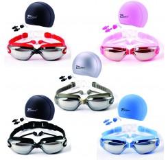 Swim Goggles With Cap Nose Clip Ear Plug Adult Anti-Fog HD Mirrored Swimming Set