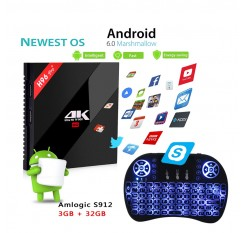 Mini i8 Gaming Keyboard Wireless Backlit + H96 PRO+ 3G+32G Android 6.0 BT 4.1 HDMI 2.0 Marshmallow TV Box