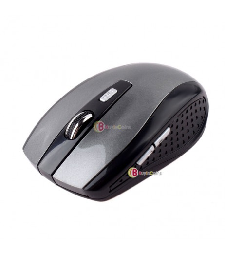 2.4GHz Wireless Optical Mouse Mice + USB 2.0 Receiver Adapter for Laptop PC Gray