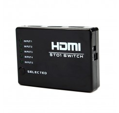 5 Ports Full HD Remote 1080P 3D HDMI Switch Selector 5 in 1 out Splitter