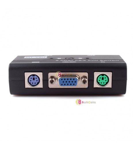 2 Port PS/2 Manual VGA KVM Switch Box For Mouse Keyboard Monitor Computer