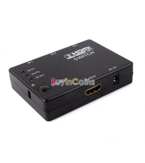 3 Port Mini HDMI Switch Switcher Splitter w/ Remote Control 3D 1080P +  V1.4 HDMI Cable for Xbox