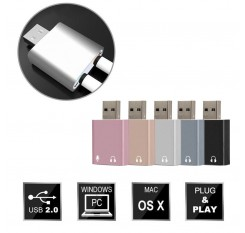 Mini USB Sound Card External Adapter  3D Stereo Jack 3.5mm Earphone Micphone For PC