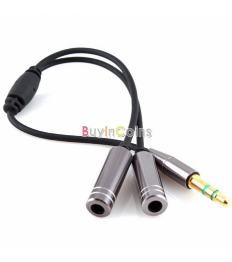 10X 3.5MM Extension Earphone Headphone Audio Splitter Cable Adapter Male to 2 Female