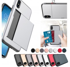 For iPhone X/XS Case Card Holder Slot Armor Detachable Shockproof Slim Cover