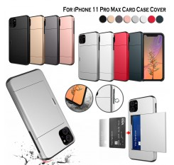 For iPhone 11 Pro Max Case Card Holder Slot Armor Detachable Shockproof Slim Cover