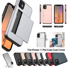 For iPhone 11 Pro Case Card Holder Slot Armor Detachable Shockproof Slim Cover