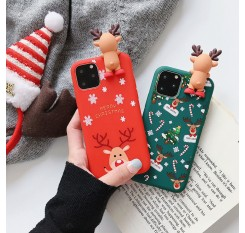 Merry Christmas Couples Phone Case For iPhone 11 Pro Cartoon Snowman & deer Soft Back Cover Cases