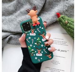 Merry Christmas Couples Phone Case For iPhone 11 Cartoon Snowman & deer Soft Back Cover Cases