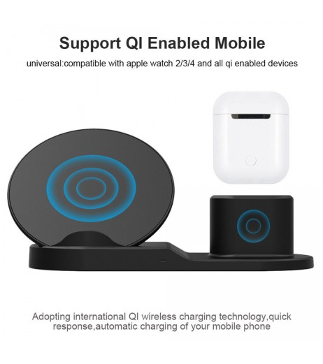 3in1 10W Qi Wireless Fast Charger Dock Stand For Apple Watch Airpods iPhone X Xs