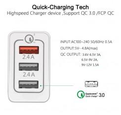 Universal 3 Port Fast Quick Charge QC3.0 USB Hub Wall Charger Adapter EU US Plug