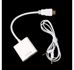 HDMI Male to VGA Female Video Adapter Converter w/Audio Cable for HDTV PC #2