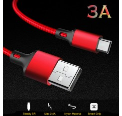 Type-C Cable For Android Mobile Phone Fast Charging Max 3A Microusb Data Nylon Braided Cable Wire