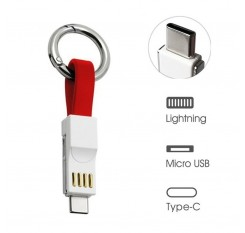 Micro Usb Lightning Cable 3 In 1 Lightning Micro Type C Portable Short Fast Charging Cord Magnetic Less