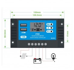 10A 12V 24V LCD Display PWM Solar Charge Controller Dual USB Solar Panel Charger