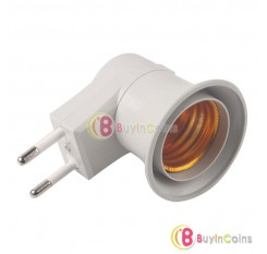 10 X E27 LED Light Male socket to EU Type Plug Adapter Converter W/ ON OFF Button