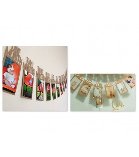 Baby 1st Birthday 12 Months Photo Frame Bunting Banner