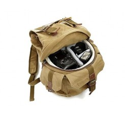 Retro Canvas DSLR Camera Backpack - Green