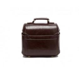 Classic DSLR Leather Shoulder Bag with Detatchable Strap - Dark Brown