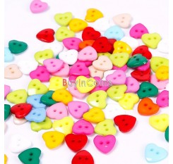 100pcs Heart Mixed Colors Resin Buttons Fit Sewing or Scrapbooking 11mm