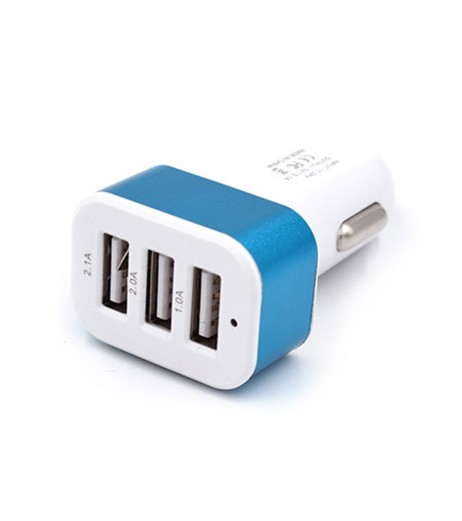 Mini Car 3 USB Ports With LED Light Colorful Charger Phone Charger Adapter