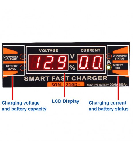 12V 10A Smart Car Motorcycle Universal Storage Battery Charger With LCD Display