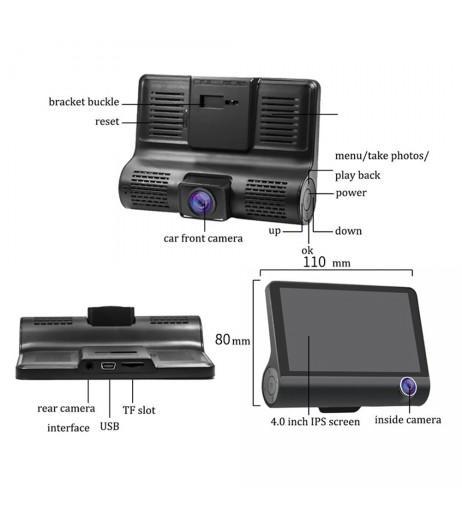 "1080P HD 4"" Dual 3 Camera Lens Car DVR Rearview Video Dash Cam Recorder Camera G-sensor"