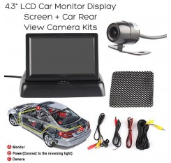 4.3 High Resolution TFT Foldable Wireless LCD Screen Rearview Monitor Car Rear View Reverse Parking Camera Kit