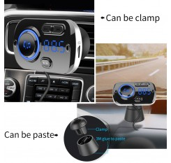 Bluetooth In-Car Wireless 5.0 FM Transmitter MP3 Radio Adapter Car Hands-Free Calling Kit 2 USB Charger LED Light