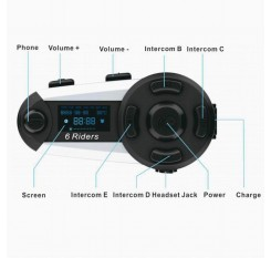 6 Rider Plus BT Motorcycle Intercom 1200m Headset Bluetooth Interphone Helmet LCD FM