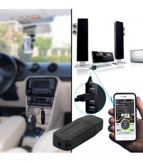 3.5mm Aux USB Wireless Bluetooth Stereo Audio Music Car Adapter Receiver Black