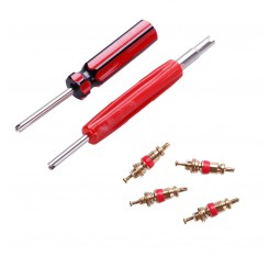 Car Tire Valve 4-Way with 4 Cores Dual Single Head Tire Tyre Stem Core Remover Tools Repair Set