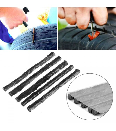 Black 50pcs Car Truck Bike Tire Tubeless Puncture Seal Repair Strip Plug Tyre Kit